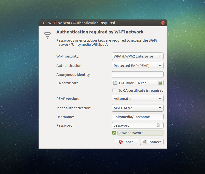 Ubuntu Mate wifiSpot Connection Settings""
